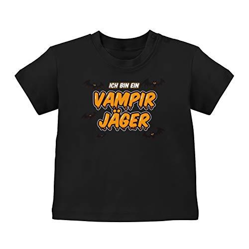 Fashionalarm Baby T-Shirt - Ich Bin EIN Vampir-Jäger | Baby-Shirt mit Spruch Halloween Kostüm Motiv Vampir lustige Geschenk-Idee Junge Mädchen, Schwarz 3-6M (60-66 cm)