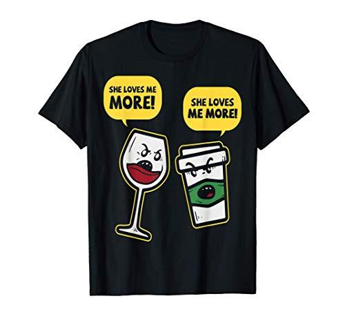 Vino divertido y alcohol de café contra la cafeína. Camiseta