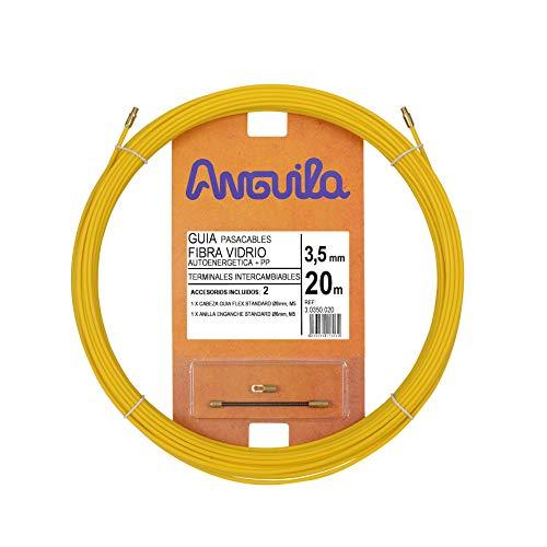 Anguila 30350020 Guía pasacables Fibra de Vidrio+Polipropileno, Amarillo, 20 Metros