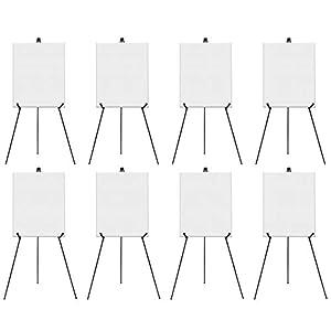 Caballete Trípode (x8) - Atril Metálico Negro Ajustable 168cm - Plegable, Transportable, Atril de Exhibición para Lienzos, Presentaciones, Ferias, Muestras de Arte, Eventos Interior/Exterior