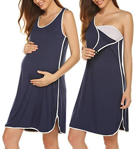 Ekouaer Women's Maternity Dress Nursing Nightgown for Breastfeeding Nightshirt Sleepwear Navy Small