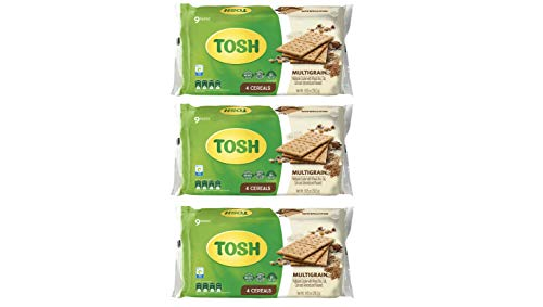 Tosh Multigrain Crackers | Wheat, Rice, Oat, Corn, Almonds & Flaxseed | No Artificial Flavors or Colors | 9.05 Ounce (Pack of 3)