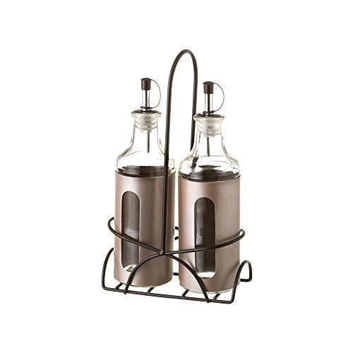 LOLAhome Aceitera y vinagrera de Acero Inoxidable Modernas para Cocina (Pack Sencillo, Gris)