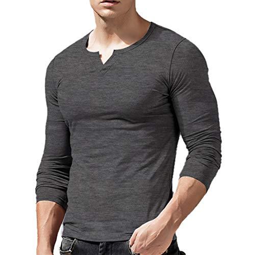 Hombres Ajustado Manga Larga Henley Camiseta Casual Cuello Pico Camisetas Algodón T2308 Gris Oscuro Large