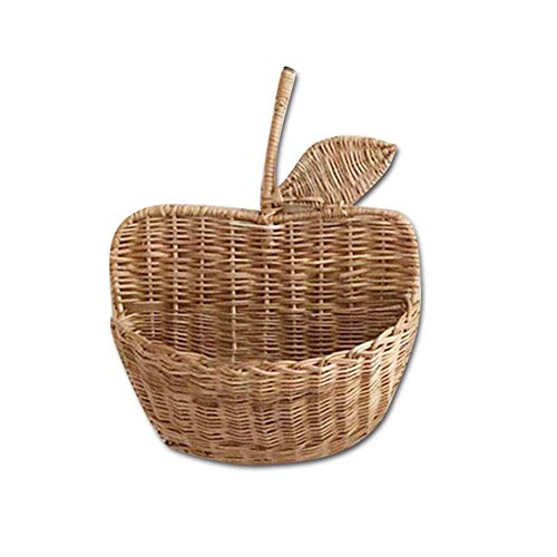 Rotan opbergmand, gevlochten wandbekleding, handgemaakte appelvormige mand, natuurlijke hangmand organisator wanddecoratie voor kantoor woonkamer slaapkamer kinderkamer decoratie
