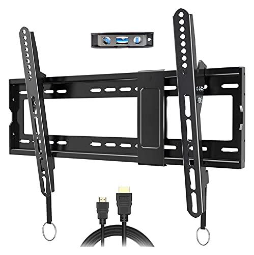 WECDS Soporte de pared para TV inclinable para la mayoría de televisores LED de 32 a 83 pulgadas, con capacidad para hasta 74,8 kg, se puede nivelar (color negro)