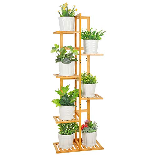 ROSSNY Plant Stand, Bamboo Plant Stands for Indoor Plants 6 Tier 7 Potted Tall...