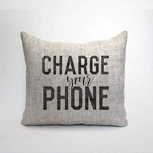 IUYG Charge Your Phone Kissenbezug aus weicher Mikrofaser, quadratisch
