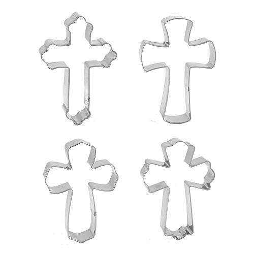 4 Pieces Holy Cross Shaped Cookie Cutter Fondant Decoration Ideas Christian Cookie Cutters Set Halloween Baking Supplies