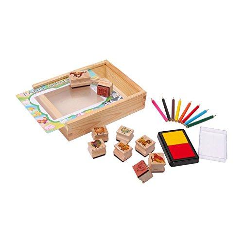 small foot Company 1478 Stempel Set Farmtiere mit Stempelkissen und bunten Stiften zum Ausmalen in Geschenkbox Spielzeug