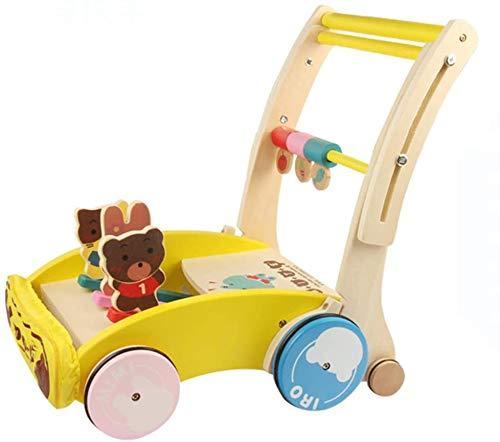 Midiao Cartoon Bois Baby Steps Pousser Walker Rollover Prévention Pliable Étape Helper Vitesse réglable en Hauteur for Les Enfants Tout-Petits 1-3 Ans d'intérieur en Plein air