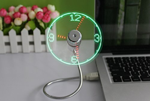 The Source - Ventilador USB con Reloj de Luces LED