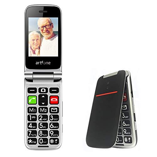 """Telefono Cellulare per Anziani, cellulare anziani con Tasti Grandi, SOS, Funzione MMS, 2.4"""" Display, Supporto SIM Doppio, Chiamata Rapida and Torcia Artfone Flip CF241A Nero"""