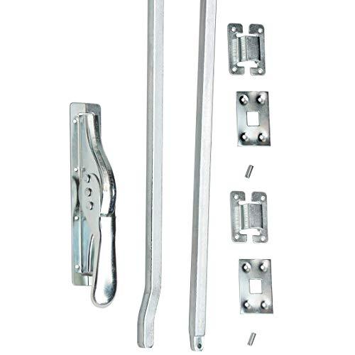 1 Set Tortreibriegel Torverschluss Türtreibriegel Stangen 2140 mm Silber Verz.