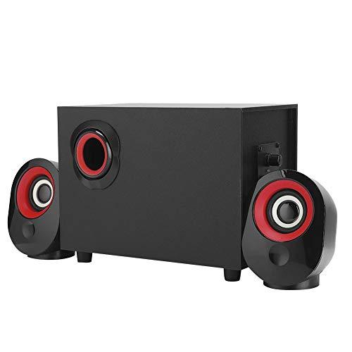 Desktopluidspreker, 360 ° stereo, geïmporteerde chip, hoge gevoeligheid, FT-X7 Houten subwoofer 2.1 Multimedia USB-luidspreker Muziekspeler voor desktop-laptopcomputer(Rood)