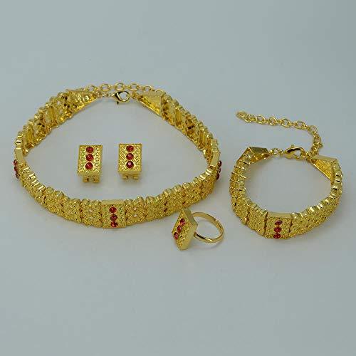 NCDFH África etíope Gargantillas Collar Pendientes Anillo Pulsera Conjuntos de Joyas de Color Dorado Eritrea Regalos de Boda # J0826 Azul