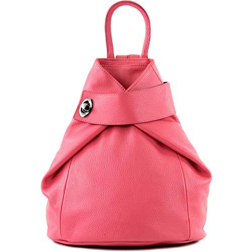 modamoda de - T179 - ital: Damen Rucksack Tasche aus Leder, Farbe:Bubble Gum