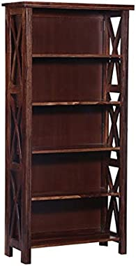PIPERCRAFTS Sheesham Wood Solid Wood Book Shelf Display and Storage Unit 5 Tier Bookcase Finish Color - Provincial Teak