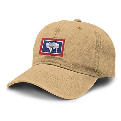 XuFuZengk Truck Baseball Cap Sun Hat Vintage Wyoming Flag Unisex Adjustable Retro Cowboy Hat Stylish Baseball Cap