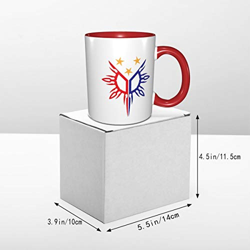 YUERF Tribal Philippines Filipino Sun and Stars Flag Coffee Mugs Gift Suitable for Cappuccino, Tea, Cocoa, Cereal - White Outside and Colorful Inside