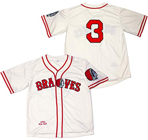 Kooy Babe Ruth #3 Boston Braves Baseball Jersey Men Throwback Summer Christmas, Biege, XX-Large
