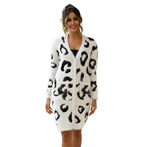 UYSDF Größe Damen Tasche Taste LangeHals Leopard Drucken Stricken Sweatshirt Strickjacke 2019