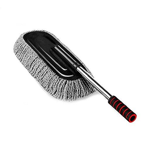 Lave-auto cire brosse lave-auto lave-auto cire brosse amovible rétractable cire remorquage voiture fournitures de nettoyage rétractable 86,5 cm noir + gris