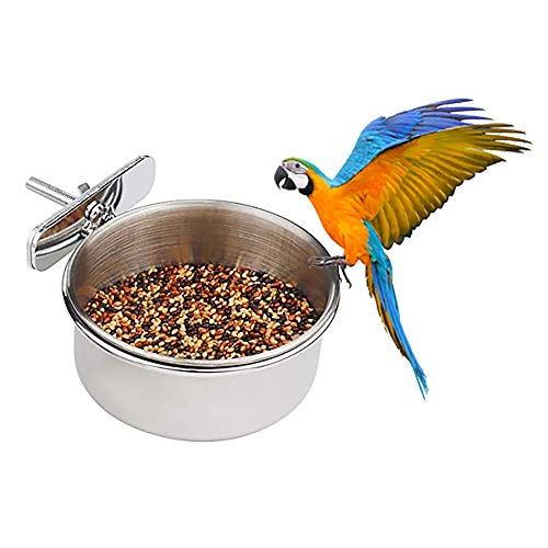DEDC 3 Pieces Bird Feeding Dish Cups Stainless Steel Parrot Feeding Cups Animal Cage Water Food Bowl Bird Cage Cups Holder with Clamp Holder for Bird Parrot Water Food Dish Feeder,S