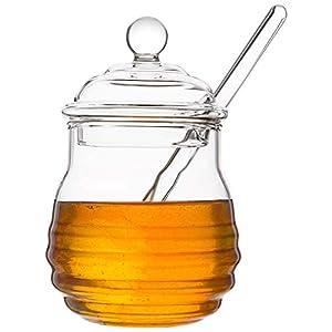 Mkouo cristal tarro de miel con balancín, claro, 9 onzas