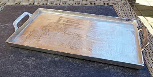 MichaelNoll Tablett Servierbrett Servierplatte Aluminium Silber L 53 cm