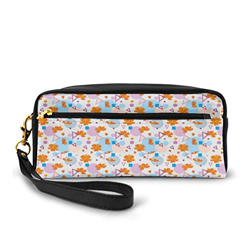 Pencil Case Pen Bag Pouch Stationary,Modern Fun Graphic with Petals and Colorful Geometric Shapes Print,Small Makeup Bag Coin Purse