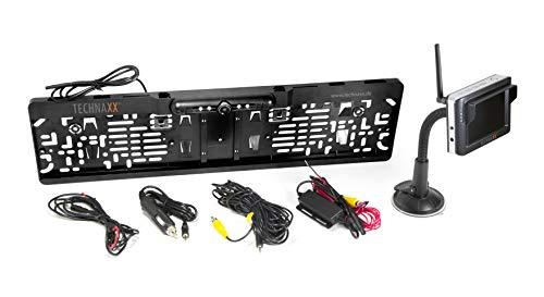 Technaxx Funk Rückfahrkamera-System mit Monitor, IP67 wasserdichte, Rückfahrhilfe, Stabiler Signalübertragung, IR LED TFT LCD Schwarz