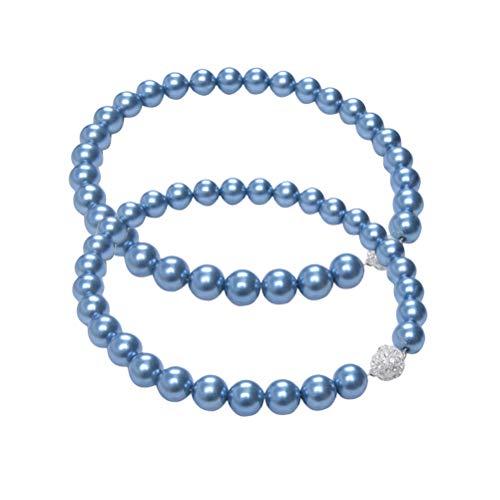 Vosarea - 2 fermatenda magnetici con Perline e Fibbia per Tende, Colore: Blu