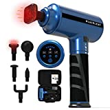 Heated Massage Gun with 5 Massage Heads and 5 Powerful Speeds & 3 Auto Modes, Hot Compress Deep Tissue Percussion Muscle Massager with Portable Case for Gym Office Home Post-Workout Pain Relief