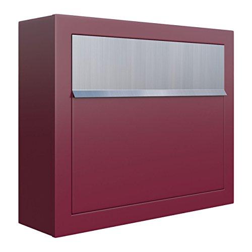 Briefkasten, Design Wandbriefkasten Elegance Rot/Edelstahl - Bravios