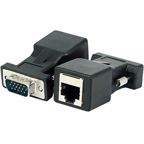 szkn 2 Stück VGA zu RJ45 Konverter VGA Video Expander 15 Pin Stecker auf RJ45 LAN CAT5 CAT6 Ethernet Buchse Adapterkabel One 2 Sets