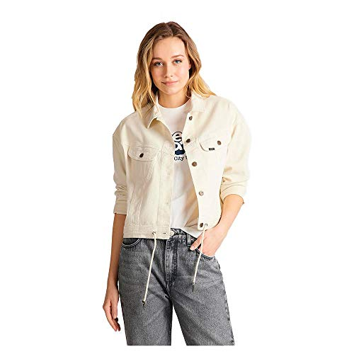 Lee Womens Rider Drawstring Denim Jacket, Buttercream, S