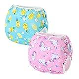 2 PCS InnoBeta Pañal de Natación, Bañador Pañal reutilizables para Bebé, Bañador Tela lavable para niños niñas 0-1 años(Size S), Piña + Unicornio