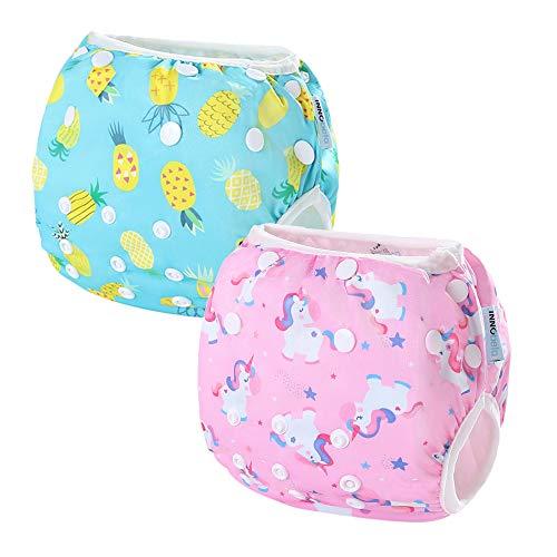 InnoBeta 2-teilig Wiederverwendbare Schwimmwindeln Einstellbare für Kleinkinder 0-1 Jahre(Size S), Schwimmhose Baby, baby badehose, Einhorn + Ananas