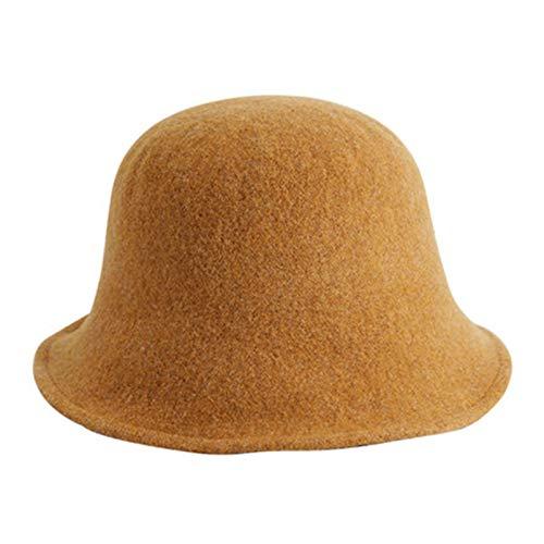 YTO Sombrero de Pescador de otoño Femenino, Sombrero de Lana de Punto de Lana, Cabeza Grande