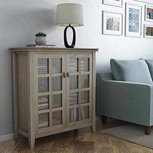 SIMPLIHOME Artisan SOLID WOOD 38 inch Wide Contemporary Medium Storage Cabinet in Distressed Grey, with 2 Tempered Glass Doors , 4 Adjustable Shelves