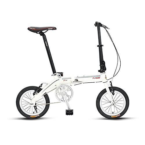 HEZHANG Bicicleta Bmx de 14 Pulgadas, Bicicleta de Carretera de M de Aluminio Ligero, Fácil de Plegar, para Damas Y Adolescentes,Blanco