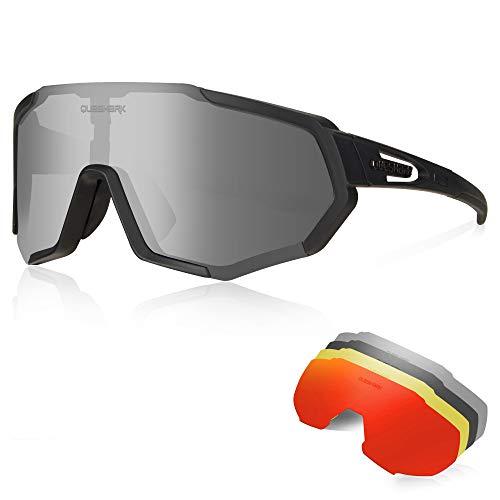Queshark Occhiali Ciclismo CE Autentica Polarizzati con 5 Lenti Intercambiabili Occhiali Bici Antivento e Antiappannamento Occhiali Sportivi da Sole Anti UV da Uomo Donna per Corsa, MTB e Running