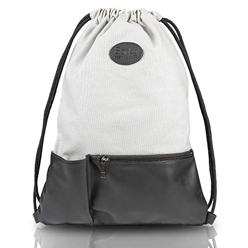 Barky - Mochila con cremallera y bolsillo interior de algodón y lona sin estampado para hombre y mujer, 10 litros, bolsa de deporte y mochila, mochila de día, color gris, tamaño talla única