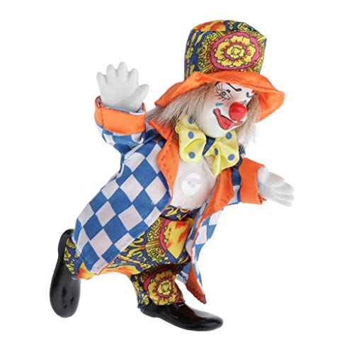 perfeclan 16cm Porzellan Clown Puppe Harlekin Puppe Mit Schönem Outfit Hut Für Kinderspielzeug, Heimtextilien Ornament