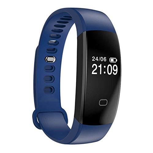 ALIZ Bluetooth Wasserdichte Herzfrequenz Blutdruckanalyse Fitness Track Schlaf Test Intelligente Uhr, Schrittzähler Uhr Kinder Frauen Männer (Farbe : Blau)