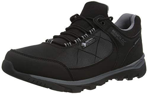 Regatta Chaussures Techniques de Marche Basses HIGHTON, Walking Shoe Homme, Black/Rock Grey, 40 EU