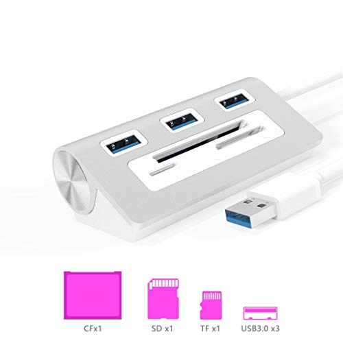 Rytaki 6 in 1 Aluminum USB 3.0 Hub, 3 Port USB 3.0 Hub with SD/CF/TF(Micro SD) Card Slot Combo for Mac,Mac book Air/Pro, Surface Pro,or any PC/Laptop, Silver