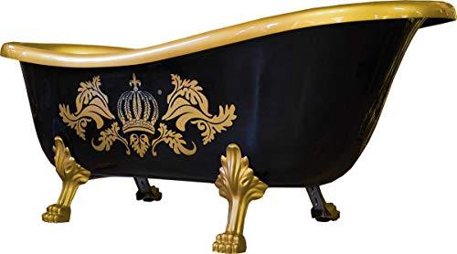 Casa Padrino Pompöös by Badewanne Deluxe freistehend von Harald Glööckler Schwarz/Gold/Gold 1695mm mit goldfarbenen Löwenfüssen