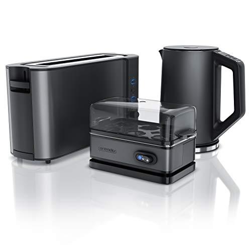 Arendo - Wasserkocher 2200W 1,5 L mit wählbaren Temperaturstufen - BPA frei - 1000W Langschlitz Toaster für 2 Scheiben Toast und Brötchenaufsatz + Eierkocher für 1-6 Eier